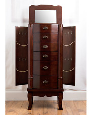 Jewelry Armoire Cabinet With Mirror Chest Locking Tall Box Walnut Wood Storage