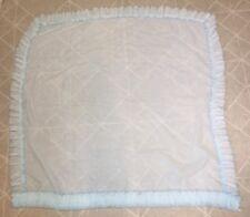 "Vintage 2 Panel Sheer Blue Curtains Ruffle Edges 43"" W x 42"" L"