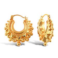 9ct Yellow Gold Victorian Spike Hoop Creole Earrings