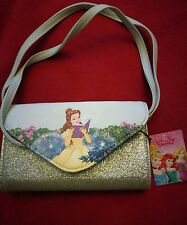Official Disney BEAUTY AND THE BEAST Belle PURSE HANDBAG Glitter long strap
