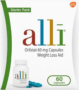 alli Diet Weight Loss Supplement Pills, Orlistat 60mg Capsules Starter Pack, 60