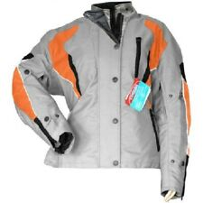 Damen Textil Motorradjacke, Grau/Orange