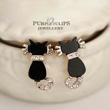 18CT Rose Gold GP Cute Little Black Cat Stud Earrings MadeWith Swarovski Crystal
