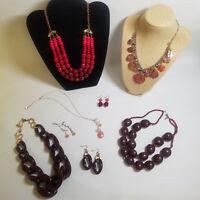 Jewelry Lot Pink Red Heart Necklaces Pierced Earrings Costume Lia Sophia
