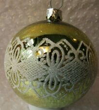 "3.5"" VINTAGE GLASS CHRISTMAS ORNAMENT CHARTREUSE GREEN W/WHITE GLITTER DESIGN"
