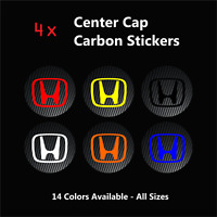 4x HONDA Carbon Fiber Wheel Rims Center Cap Decals Stickers Civic Type R S2000