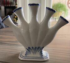 Andrea By Sadek Blue Willow Willaimsburg Blue White 5 Finger Vase
