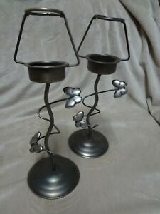 2 x Sweet Butterfly themed Metal Tea Light Candle Holder