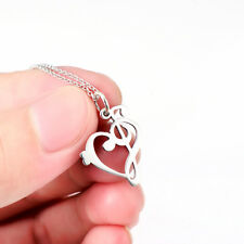 925 Sterling Silver Treble and Bass Clef Heart Pendant Musical Song Necklace 18""