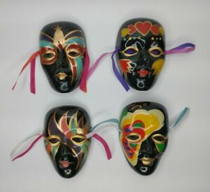 Lot Of 4 Different Vintage 1990's 4 Inch Ceramic Sparkling Fantasy Mask Face