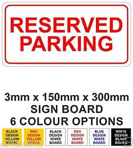 Reserved Parking Rigid Sign Board 15cm x 30cm