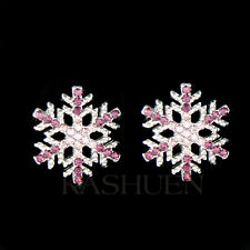 w Swarovski Crystal Purple SNOWFLAKE Snow Flake Holiday Winter Earrings Jewelry