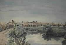 ENTE Dechaume (FRANCESE 1877-1944) Villaggio Costiero dipinto ad Acquerello c1905/35