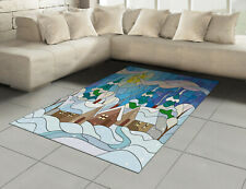 Winter Cotton Rug, Stained Glass Snowy Village