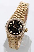 Rolex Ladies President 18K Yellow Gold Black Diamond Dial & Bezel 69178 Quickset