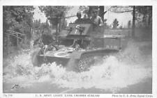 U.S. ARMY LIGHT TANK CROSSES STREAM ARMY SIGNALS CORP MILITARY POSTCARD (1940s)