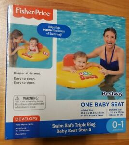 Fisher Price Bestway Swim Safe Triple Ring Baby Seat Ages 0-1 NIP Yellow/Red
