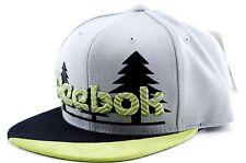 Reebok NK99Z Embroidered Trees Logo Snapback Flat Bill Cap Hat Gray Lime