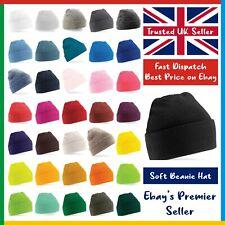 PULL-ON Beanie Hat • 60 COLOURS • Beechfield Original Soft Touch Cuffed Beanie