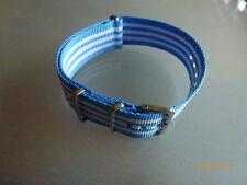 Uhrenarmband  Nylon blau weiß 22 mm NATO BAND Dornschließe Textil