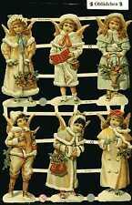 # GLANZBILDER  # EF 7347, Engelskinder, 6 große Bilder , toller Bogen m.GLIMMER