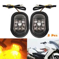 2x Universal Motorcycle Flush Mount Turn Signal Blinker Smoke Amber 9 LED Light