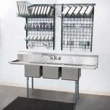 """79"""" 3-Compartment Stainless Steel Commercial Restaurant Sink with 2 Drainboards"""