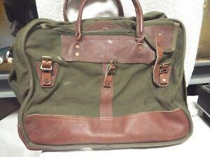 Vintage Gokeys Green BrownTrim Canvas/Leather Travel Bag