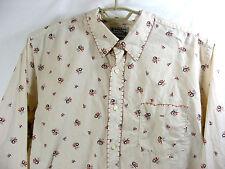 Lucky Brand Western Shirt Long Sleeve Floral Print Feather Stitching Sz XXL 2XL