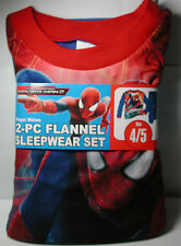 New Boys Amazing SPIDERMAN 2 Flannel Pajamas 2 piece Sleep wear Set Size 4/5 4 5