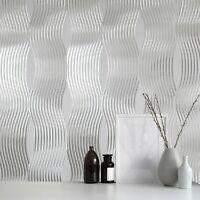 Silver Foil Metallic textured wavy lines modern contemporary waves wallpaper 3D