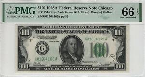 1928 A $100 FEDERAL RESERVE NOTE CHICAGO FR.2151-G PMG GEM UNC 66 EPQ (160A)