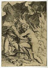 Rare Antique Master Print-CLASSICAL MYTHOLOGY-ORPHEUS-EURYDICE-Carracci-ca. 1580