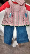 4 pc green check apron flared jeans  fits American Girl doll handmade and New
