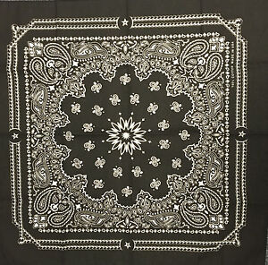 5-Classic Bandana Head Wrap Scarf 100% Cotton Black Made In USA New