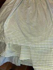 """Pottery Barn Kids Green Gingham bedskirt bed skirt 14"""" drop Full Size"""