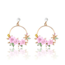 Korean Women Crystal Flower Pearl Ear Stud Dangle Drop Hoop Earrings Jewelry