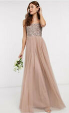 New Maya Deluxe Size 16 P Taupe Blush Square Neck Sequin Tulle Maxi Dress Prom