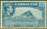 Gibraltar 1938 3d Light Blue SG125a P.14 Fine Mtd Mint
