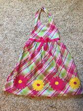 Girl's Size 6X Blueberi Hot Pink Print Dress Featuring Gerber Daisies -EUC