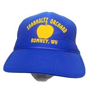 Vintage Stanholtz Orchard Romney WV Snap Back Foam Trucker Cap Blue Apple Blue