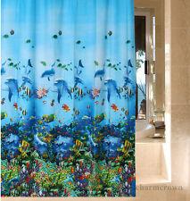 Blue OCEAN LIFE Tropical Beach Dolphin Sea Life Fish Bathroom Shower Curtain NEW