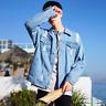 Men's Cool Slim Fit retro Thicken Coat Jean Denim Jacket Lapel Outerwear