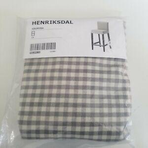 Ikea COVER for Henriksdal Bar stool Slipcover Sågmyra Gray check Grey cover New