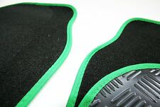 Hyundai Coupe (02-09) Black 650g Carpet & Green Trim Car Mats - Rubber Heel Pad