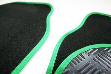 Hyundai Coupe (02-09) Black 650g Carpet & Green Trim Car Mats - Rubber Heel Pad