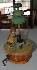 "Large 9"" Vintage Anri Music Box Girl with Dog Tree & Bird Song: Gigi"