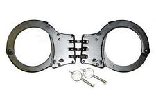 HEAVY DUTY BLACK HINGED POLICE SECURITY HANDCUFFS & KEYS double lock NEW #KN425
