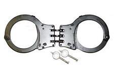 HEAVY DUTY BLACK HINGED POLICE SECURITY HANDCUFFS & KEYS double lock NEW #KN425