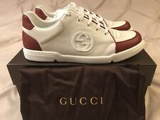 New $635 Gucci GG Soho White Red Low Top Shoes Size 12.5